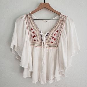 Love Tree Happens Embroidered Boho Cropped Blouse